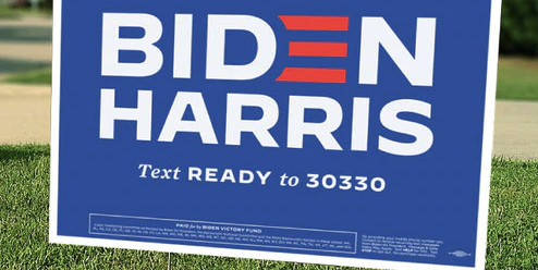 Blue Biden Harris sign