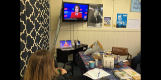 Debate watch party at the KCDP office