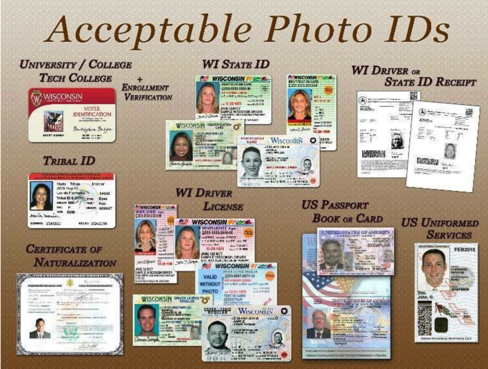 Accepted forms of identification for Voting in Wisconsin